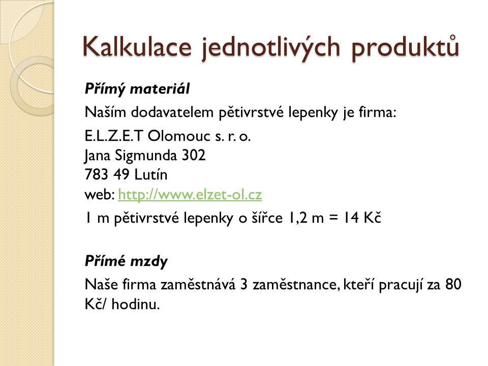 Kalkulace jednotlivých produktů Přímý materiál Naším dodavatelem pětivrstvé lepenky je firma: E.L.Z.E.T Olomouc s.