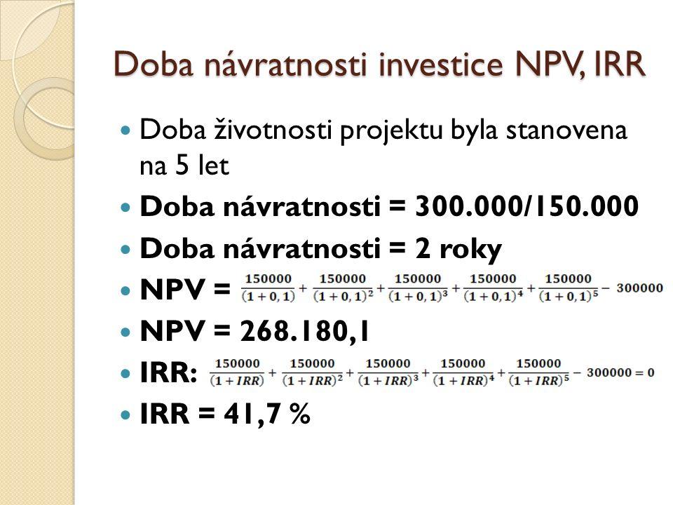 Doba návratnosti investice NPV, IRR Doba životnosti projektu byla stanovena na 5 let Doba návratnosti = 300.000/150.000 Doba návratnosti = 2 roky NPV = NPV = 268.180,1 IRR: IRR = 41,7 %