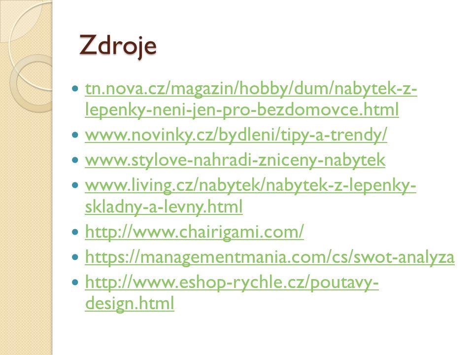 Zdroje tn.nova.cz/magazin/hobby/dum/nabytek-z- lepenky-neni-jen-pro-bezdomovce.html tn.nova.cz/magazin/hobby/dum/nabytek-z- lepenky-neni-jen-pro-bezdomovce.html www.novinky.cz/bydleni/tipy-a-trendy/ www.stylove-nahradi-zniceny-nabytek www.living.cz/nabytek/nabytek-z-lepenky- skladny-a-levny.html www.living.cz/nabytek/nabytek-z-lepenky- skladny-a-levny.html http://www.chairigami.com/ https://managementmania.com/cs/swot-analyza http://www.eshop-rychle.cz/poutavy- design.html http://www.eshop-rychle.cz/poutavy- design.html