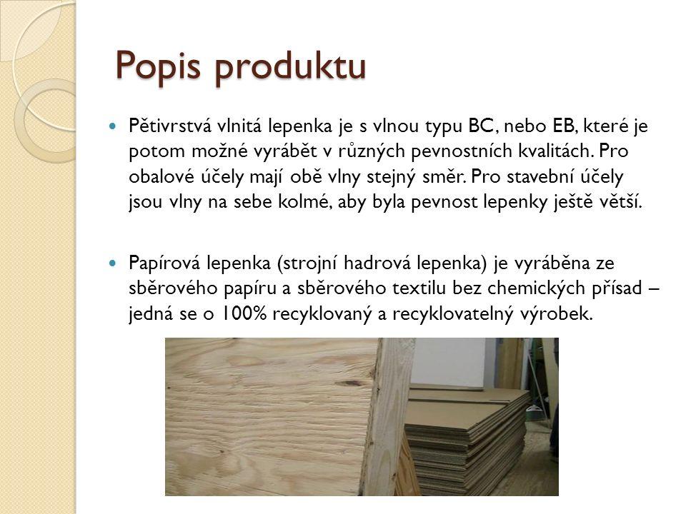 Popis produktu Pětivrstvá vlnitá lepenka je s vlnou typu BC, nebo EB, které je potom možné vyrábět v různých pevnostních kvalitách.