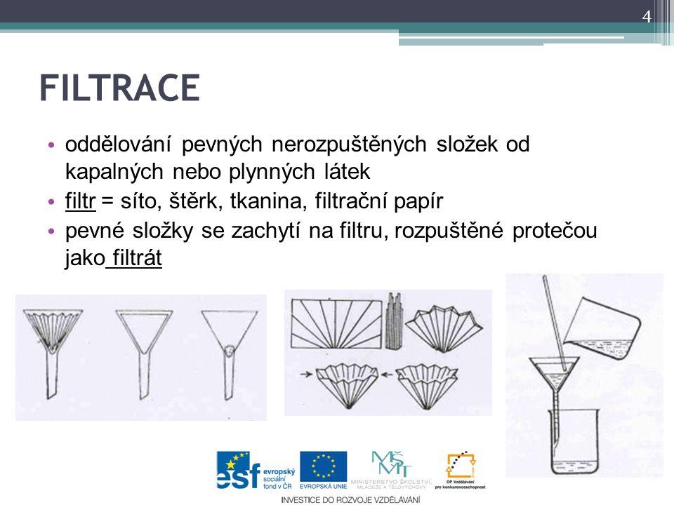 FILTRACE oddělování pevných nerozpuštěných složek od kapalných nebo plynných látek filtr = síto, štěrk, tkanina, filtrační papír pevné složky se zachytí na filtru, rozpuštěné protečou jako filtrát 4