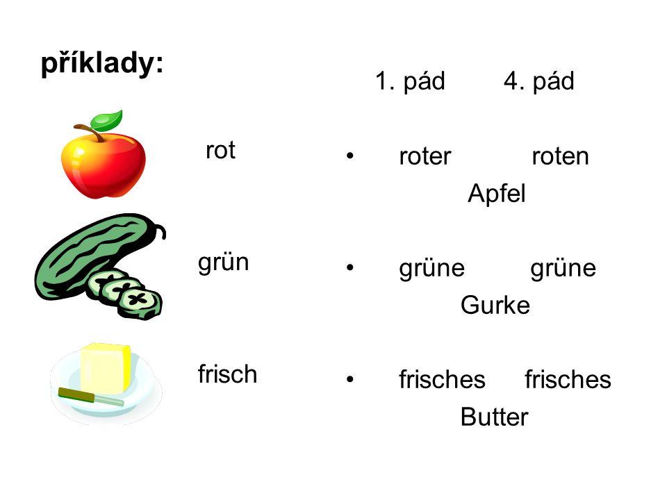 příklady: rot grün frisch 1. pád 4.