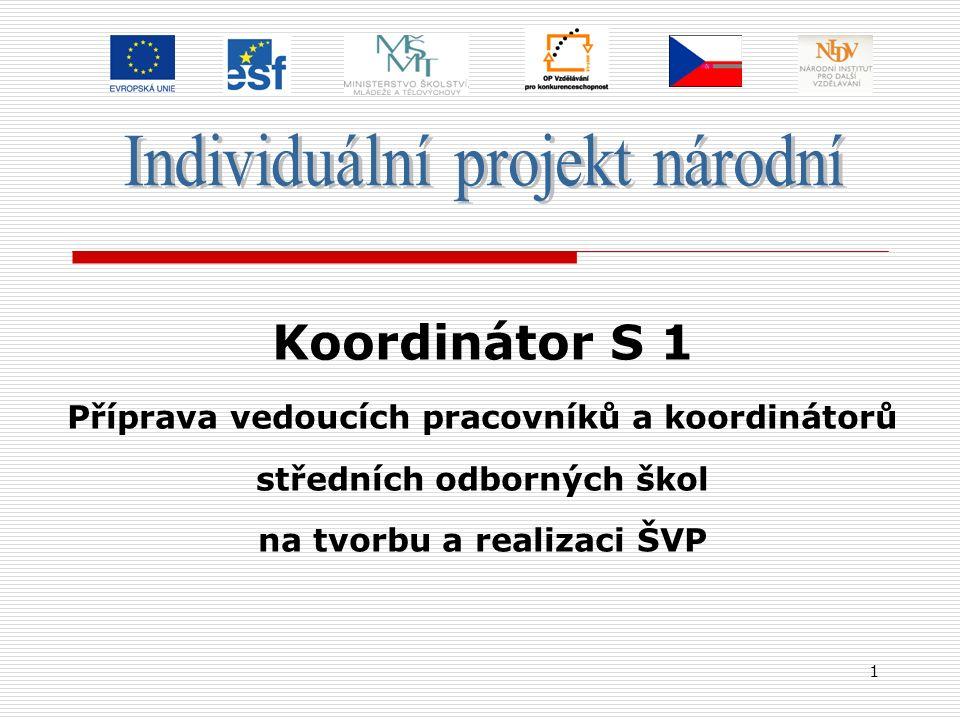 1 Koordinátor S 1 Příprava vedoucích pracovníků a koordinátorů středních odborných škol na tvorbu a realizaci ŠVP