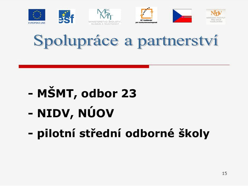 15 - MŠMT, odbor 23 - NIDV, NÚOV - pi lotní střední odborné školy
