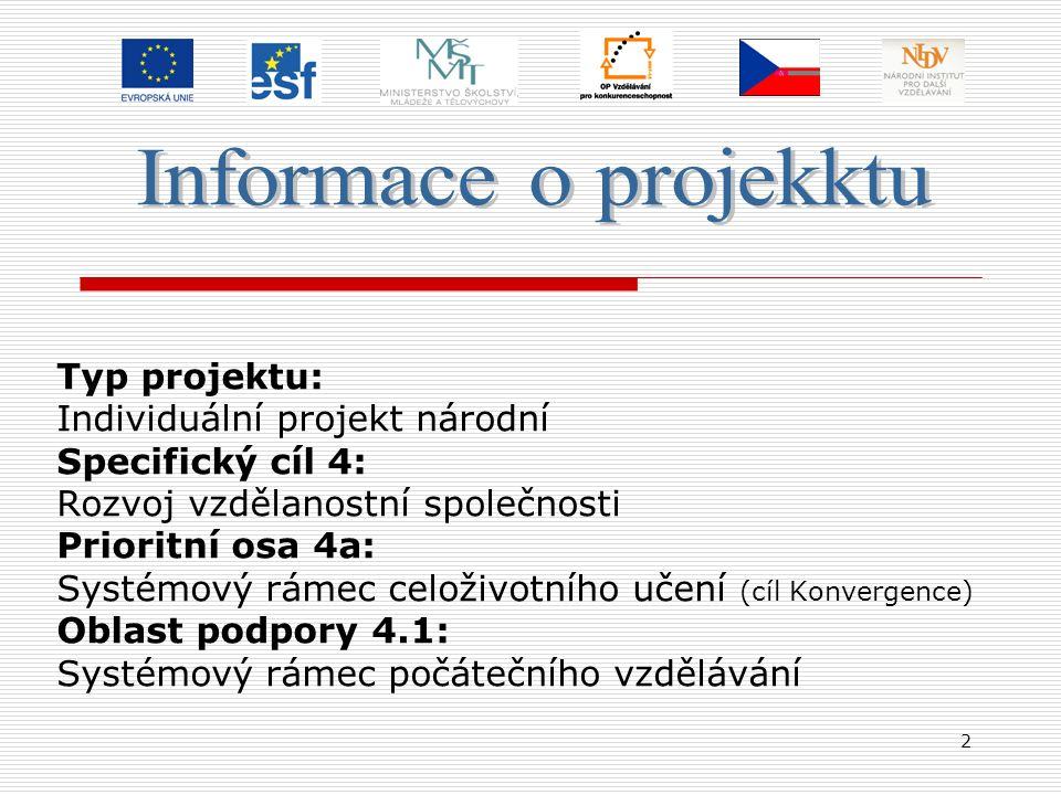 2 Typ projektu: Individuální projekt národní Specifický cíl 4: Rozvoj vzdělanostní společnosti Prioritní osa 4a: Systémový rámec celoživotního učení (cíl Konvergence) Oblast podpory 4.1: Systémový rámec počátečního vzdělávání