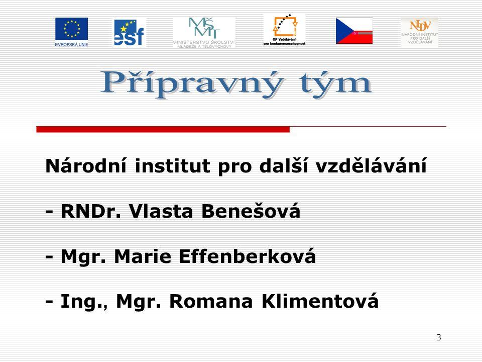3 Národní institut pro další vzdělávání - RNDr. Vlasta Benešová - Mgr. Marie Effenberková - Ing., Mgr. Romana Klimentová