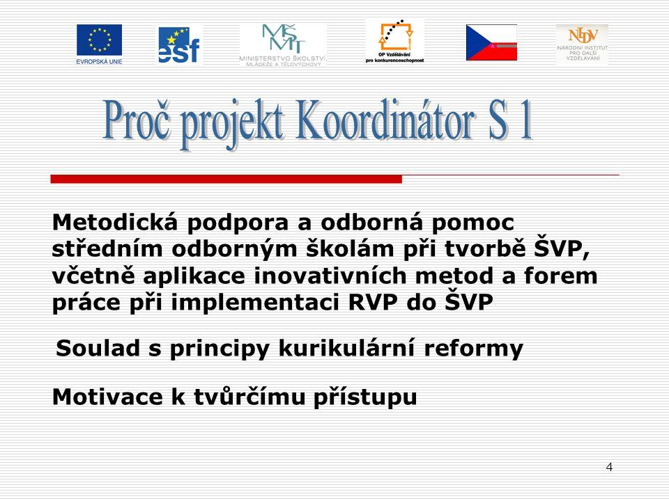 4 Metodická podpora a odborná pomoc středním odborným školám při tvorbě ŠVP, včetně aplikace inovativních metod a forem práce při implementaci RVP do ŠVP Soulad s principy kurikulární reformy Motivace k tvůrčímu přístupu