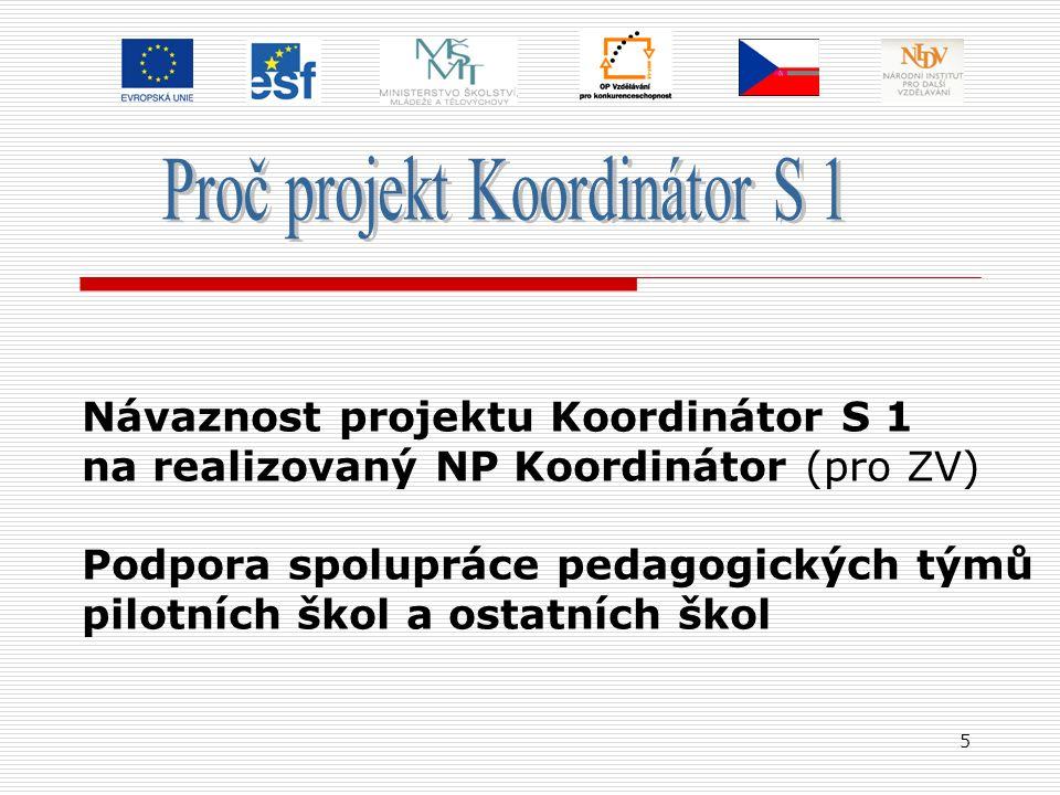 5 Návaznost projektu Koordinátor S 1 na realizovaný NP Koordinátor (pro ZV) Podpora spolupráce pedagogických týmů pilotních škol a ostatních škol