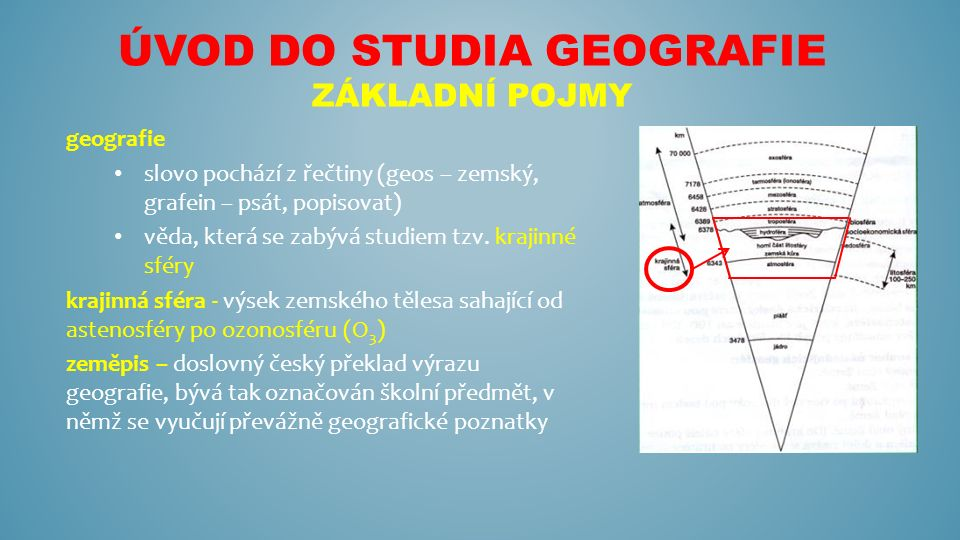 ÚVOD DO STUDIA GEOGRAFIE ZÁKLADNÍ POJMY geografie slovo pochází z řečtiny (geos – zemský, grafein – psát, popisovat) věda, která se zabývá studiem tzv.