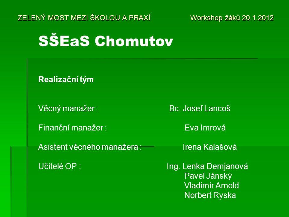 ZELENÝ MOST MEZI ŠKOLOU A PRAXÍ Workshop žáků 20.1.2012 Realizační tým Věcný manažer : Bc.