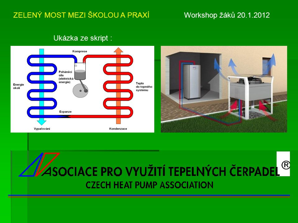 ZELENÝ MOST MEZI ŠKOLOU A PRAXÍ Workshop žáků 20.1.2012 Ukázka ze skript :