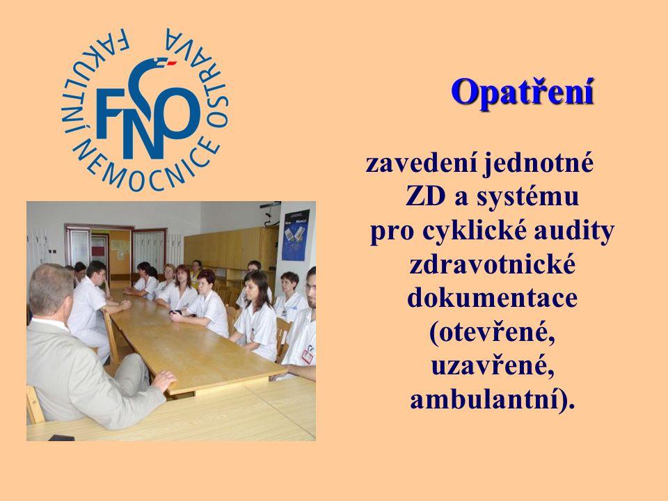 zavedení jednotné ZD a systému pro cyklické audity zdravotnické dokumentace (otevřené, uzavřené, ambulantní).