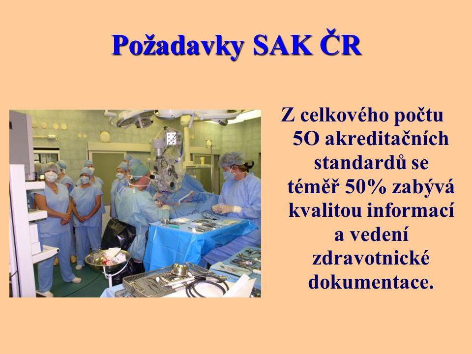 Požadavky SAK ČR Z celkového počtu 5O akreditačních standardů se téměř 50% zabývá kvalitou informací a vedení zdravotnické dokumentace.