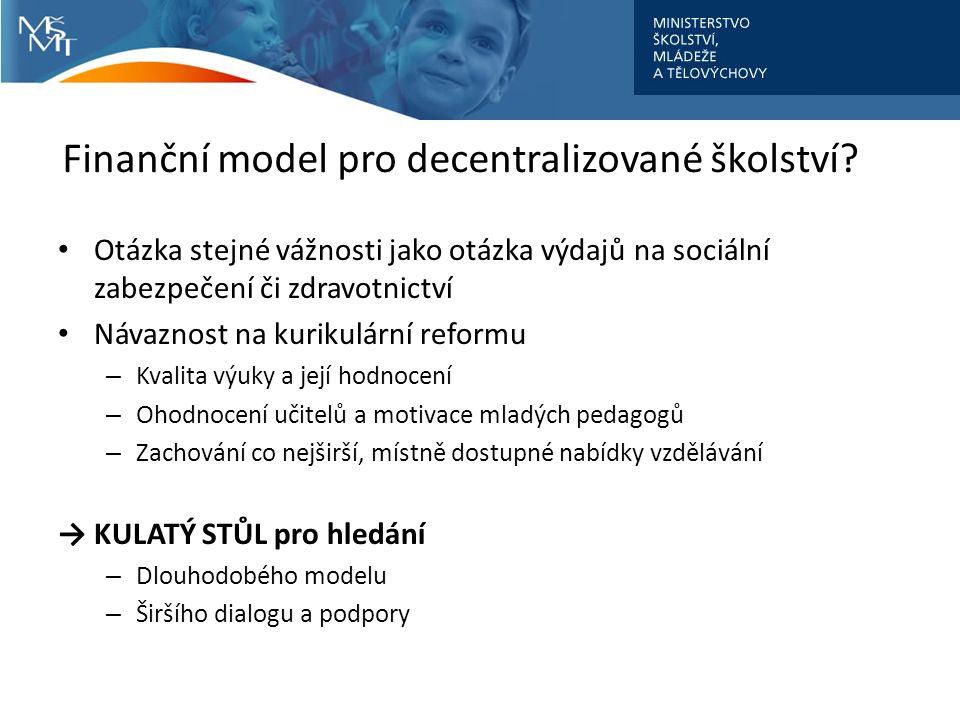 Finanční model pro decentralizované školství? Otázka stejné vážnosti jako otázka výdajů na sociální zabezpečení či zdravotnictví Návaznost na kurikulá