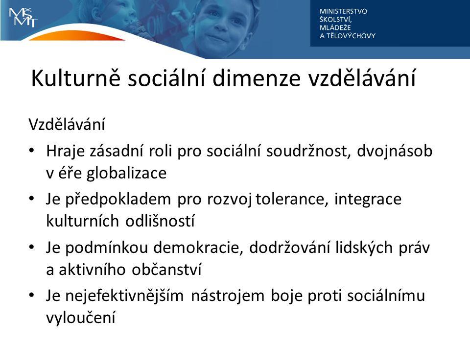 Kulturně sociální dimenze vzdělávání Vzdělávání Hraje zásadní roli pro sociální soudržnost, dvojnásob v éře globalizace Je předpokladem pro rozvoj tolerance, integrace kulturních odlišností Je podmínkou demokracie, dodržování lidských práv a aktivního občanství Je nejefektivnějším nástrojem boje proti sociálnímu vyloučení