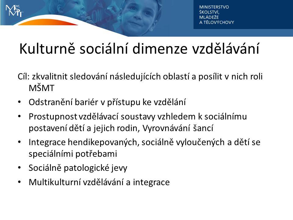 Kulturně sociální dimenze vzdělávání Cíl: zkvalitnit sledování následujících oblastí a posílit v nich roli MŠMT Odstranění bariér v přístupu ke vzdělání Prostupnost vzdělávací soustavy vzhledem k sociálnímu postavení dětí a jejich rodin, Vyrovnávání šancí Integrace hendikepovaných, sociálně vyloučených a dětí se speciálními potřebami Sociálně patologické jevy Multikulturní vzdělávání a integrace