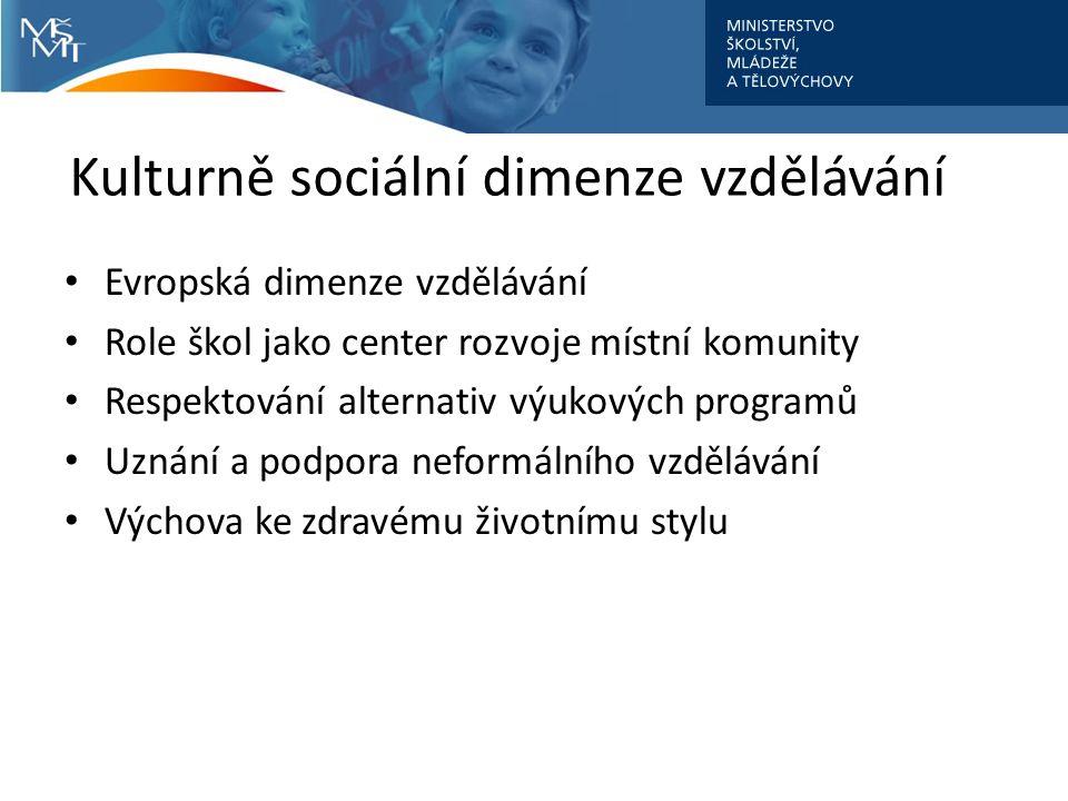 Kulturně sociální dimenze vzdělávání Evropská dimenze vzdělávání Role škol jako center rozvoje místní komunity Respektování alternativ výukových programů Uznání a podpora neformálního vzdělávání Výchova ke zdravému životnímu stylu