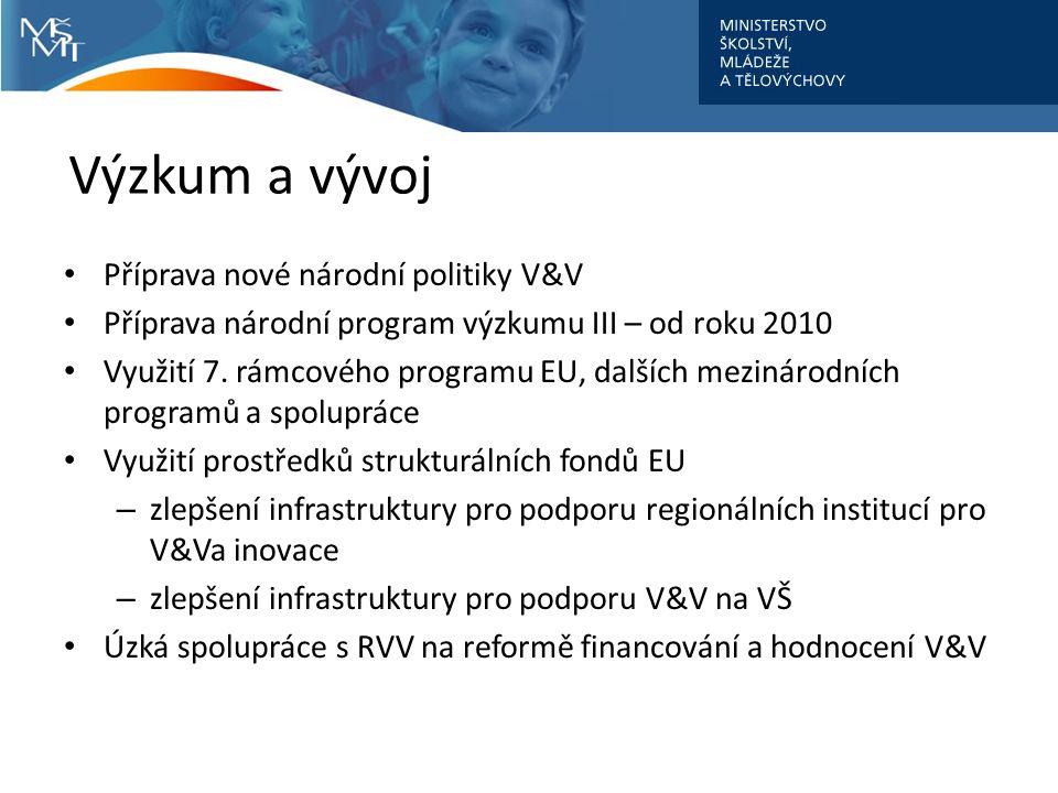 Výzkum a vývoj Příprava nové národní politiky V&V Příprava národní program výzkumu III – od roku 2010 Využití 7. rámcového programu EU, dalších meziná
