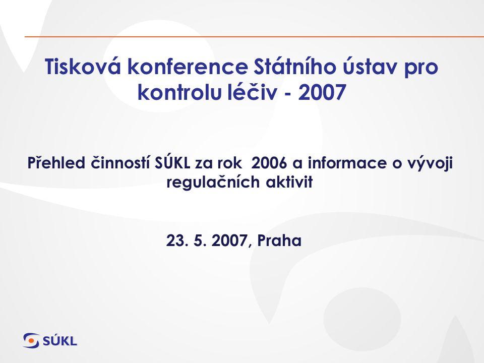 Tisková konference Státního ústav pro kontrolu léčiv - 2007 Přehled činností SÚKL za rok 2006 a informace o vývoji regulačních aktivit 23. 5. 2007, Pr