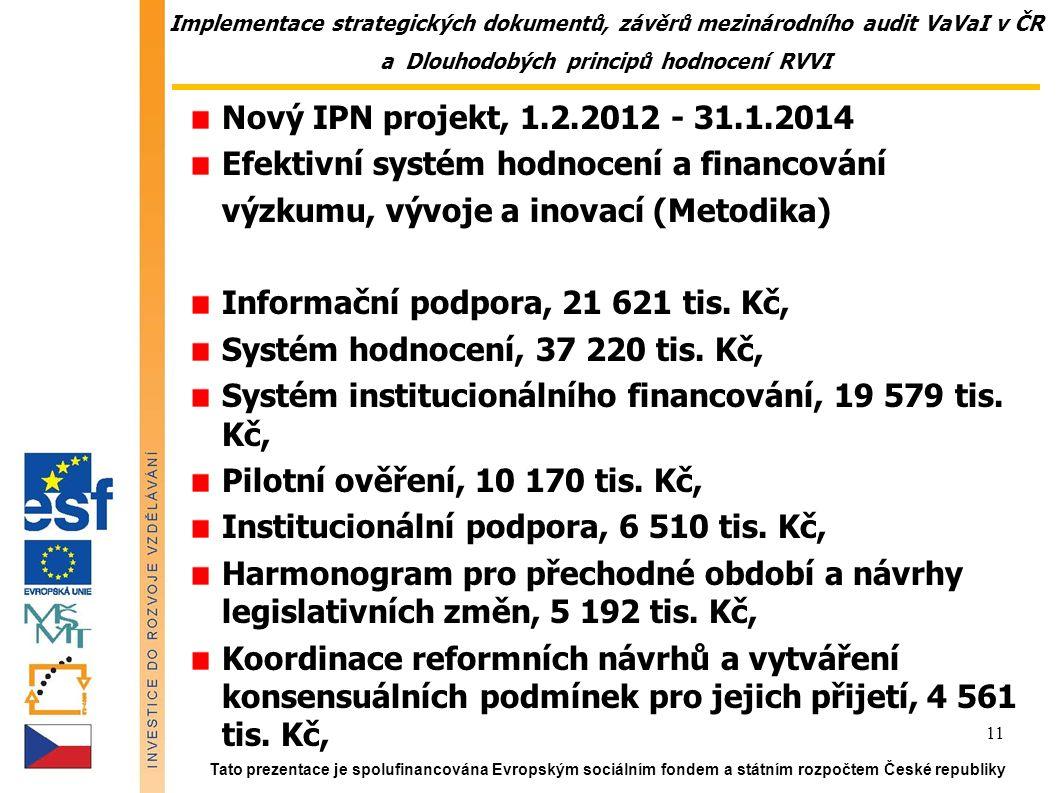Implementace strategických dokumentů, závěrů mezinárodního audit VaVaI v ČR a Dlouhodobých principů hodnocení RVVI Nový IPN projekt, 1.2.2012 - 31.1.2014 Efektivní systém hodnocení a financování výzkumu, vývoje a inovací (Metodika) Informační podpora, 21 621 tis.