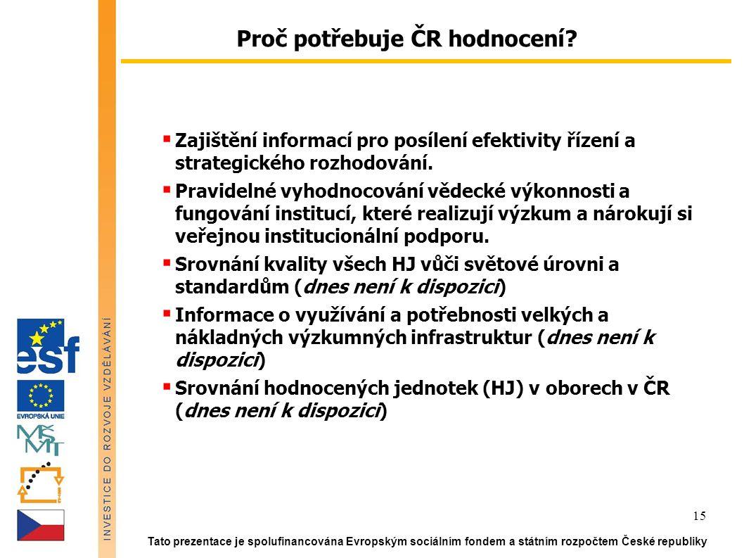 Tato prezentace je spolufinancována Evropským sociálním fondem a státním rozpočtem České republiky 15  Zajištění informací pro posílení efektivity řízení a strategického rozhodování.