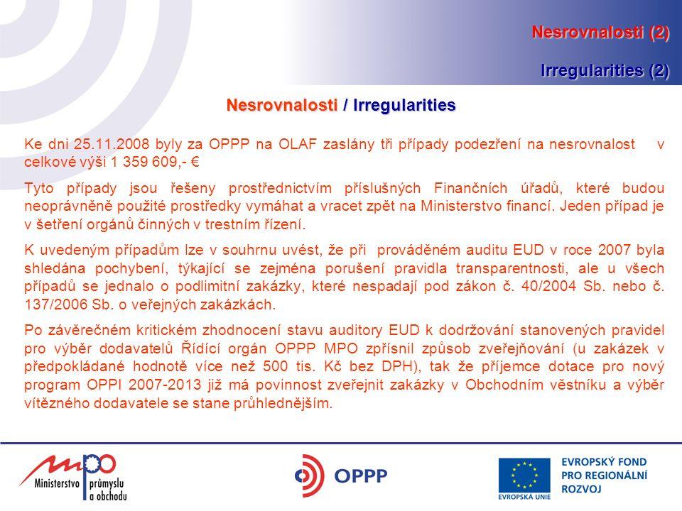 Ke dni 25.11.2008 byly za OPPP na OLAF zaslány tři případy podezření na nesrovnalost v celkové výši 1 359 609,- € Tyto případy jsou řešeny prostřednictvím příslušných Finančních úřadů, které budou neoprávněně použité prostředky vymáhat a vracet zpět na Ministerstvo financí.