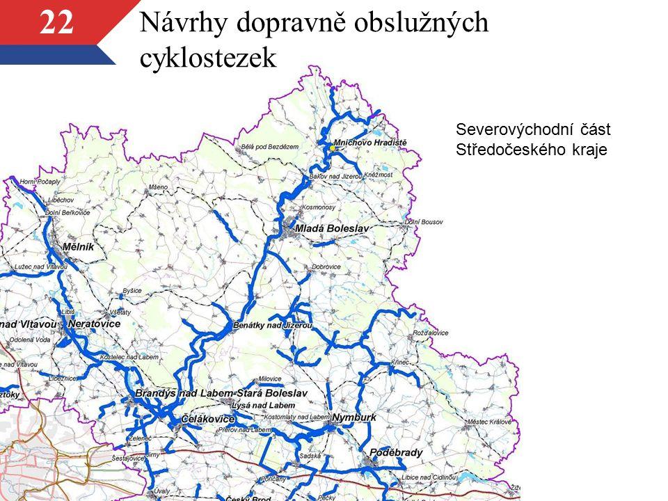 22 Návrhy dopravně obslužných cyklostezek Severovýchodní část Středočeského kraje