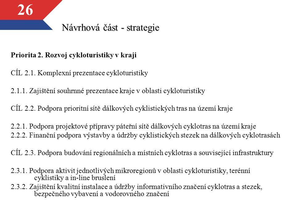 26 Návrhová část - strategie Priorita 2. Rozvoj cykloturistiky v kraji CÍL 2.1. Komplexní prezentace cykloturistiky 2.1.1. Zajištění souhrnné prezenta