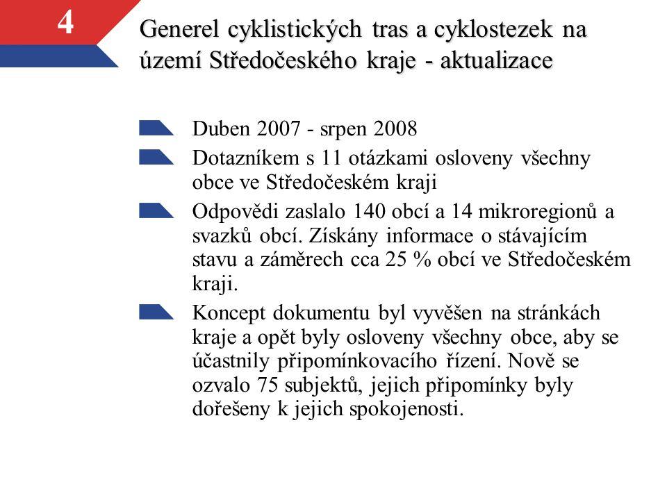 4 Generel cyklistických tras a cyklostezek na území Středočeského kraje - aktualizace Duben 2007 - srpen 2008 Dotazníkem s 11 otázkami osloveny všechn