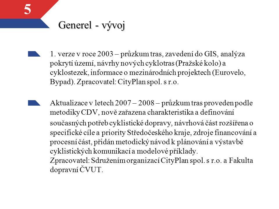 5 Generel - vývoj 1. verze v roce 2003 – průzkum tras, zavedení do GIS, analýza pokrytí území, návrhy nových cyklotras (Pražské kolo) a cyklostezek, i