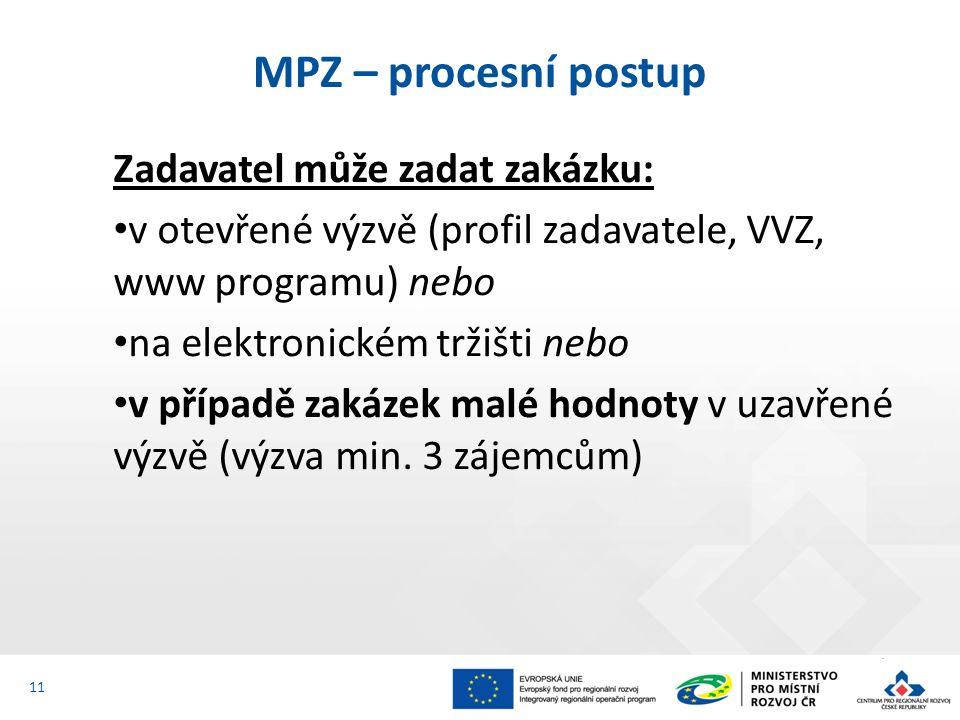 Zadavatel může zadat zakázku: v otevřené výzvě (profil zadavatele, VVZ, www programu) nebo na elektronickém tržišti nebo v případě zakázek malé hodnot