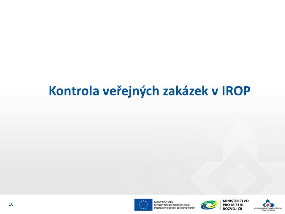 Kontrola veřejných zakázek v IROP 16