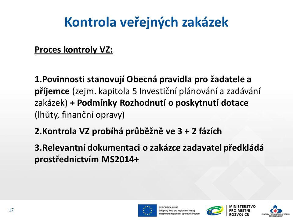 Proces kontroly VZ: 1.Povinnosti stanovují Obecná pravidla pro žadatele a příjemce (zejm.