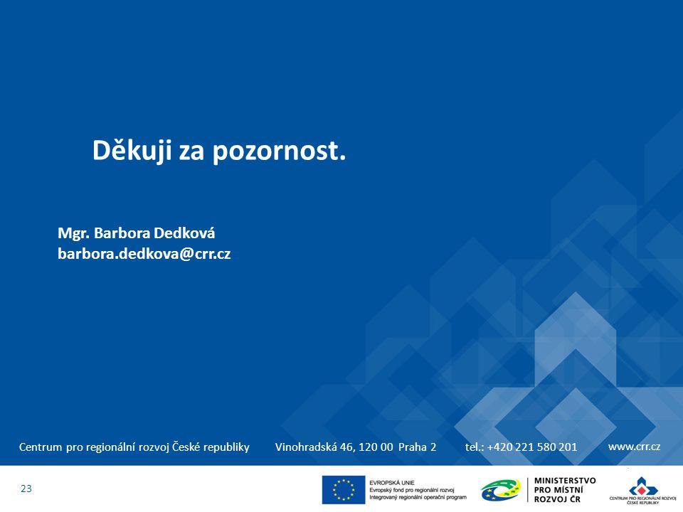 Centrum pro regionální rozvoj České republikyVinohradská 46, 120 00 Praha 2tel.: +420 221 580 201 www.crr.cz Děkuji za pozornost. 23 Mgr. Barbora Dedk