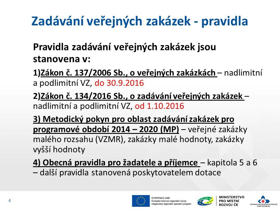 Pravidla zadávání veřejných zakázek jsou stanovena v: 1)Zákon č. 137/2006 Sb., o veřejných zakázkách – nadlimitní a podlimitní VZ, do 30.9.2016 2)Záko