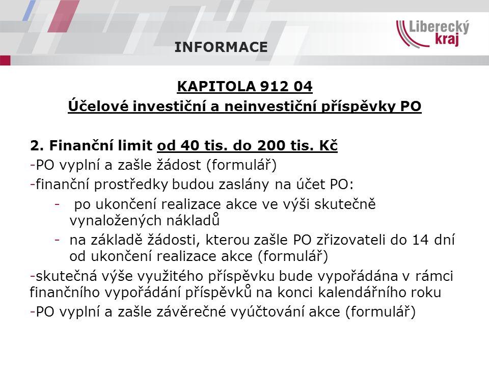 INFORMACE KAPITOLA 912 04 Účelové investiční a neinvestiční příspěvky PO 2.
