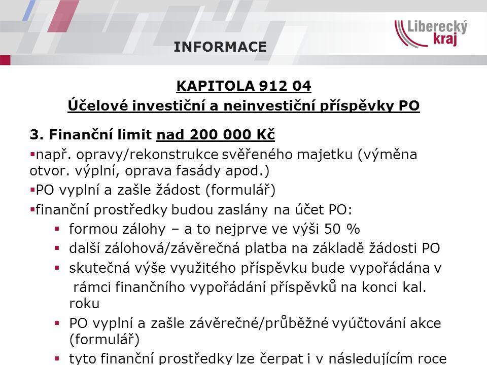 INFORMACE KAPITOLA 912 04 Účelové investiční a neinvestiční příspěvky PO 3.
