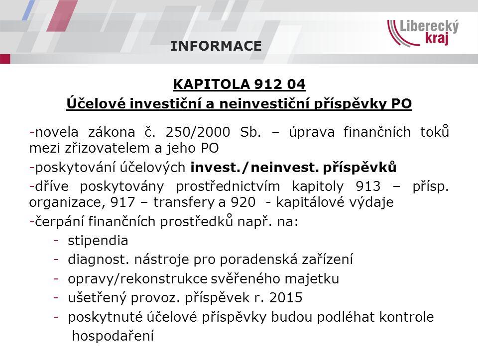 INFORMACE KAPITOLA 912 04 Účelové investiční a neinvestiční příspěvky PO -novela zákona č.