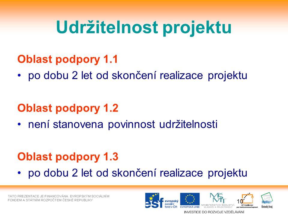 10 Udržitelnost projektu Oblast podpory 1.1 po dobu 2 let od skončení realizace projektu Oblast podpory 1.2 není stanovena povinnost udržitelnosti Oblast podpory 1.3 po dobu 2 let od skončení realizace projektu