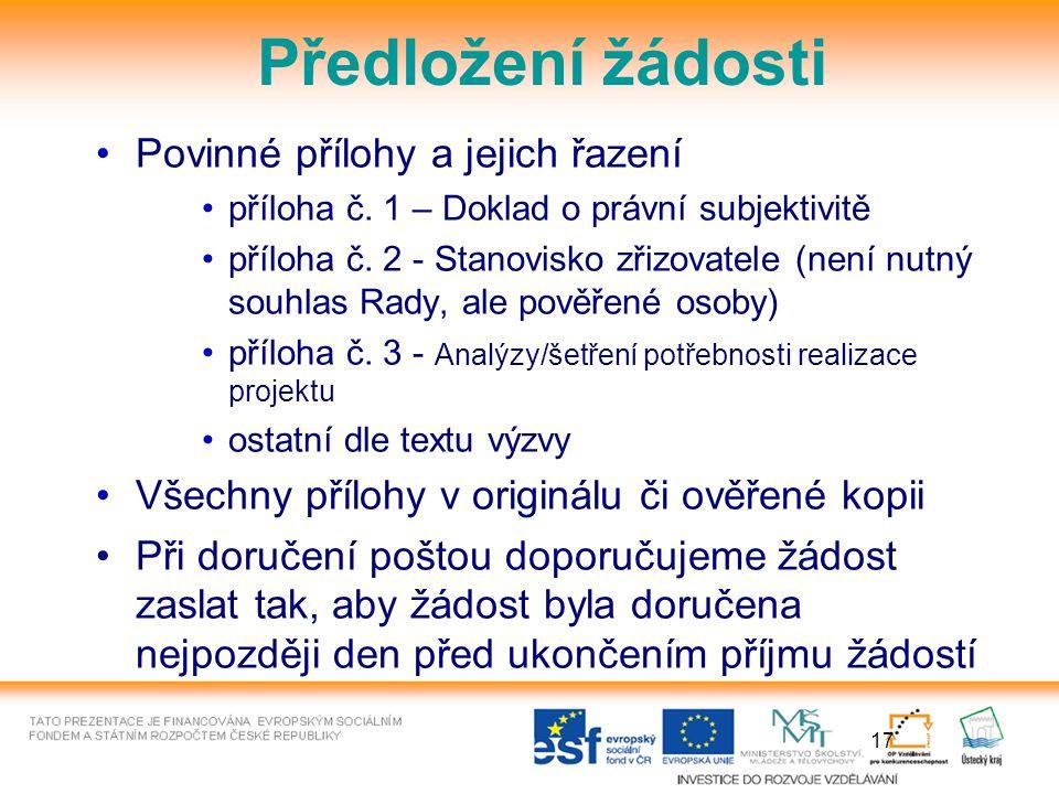 17 Předložení žádosti Povinné přílohy a jejich řazení příloha č.