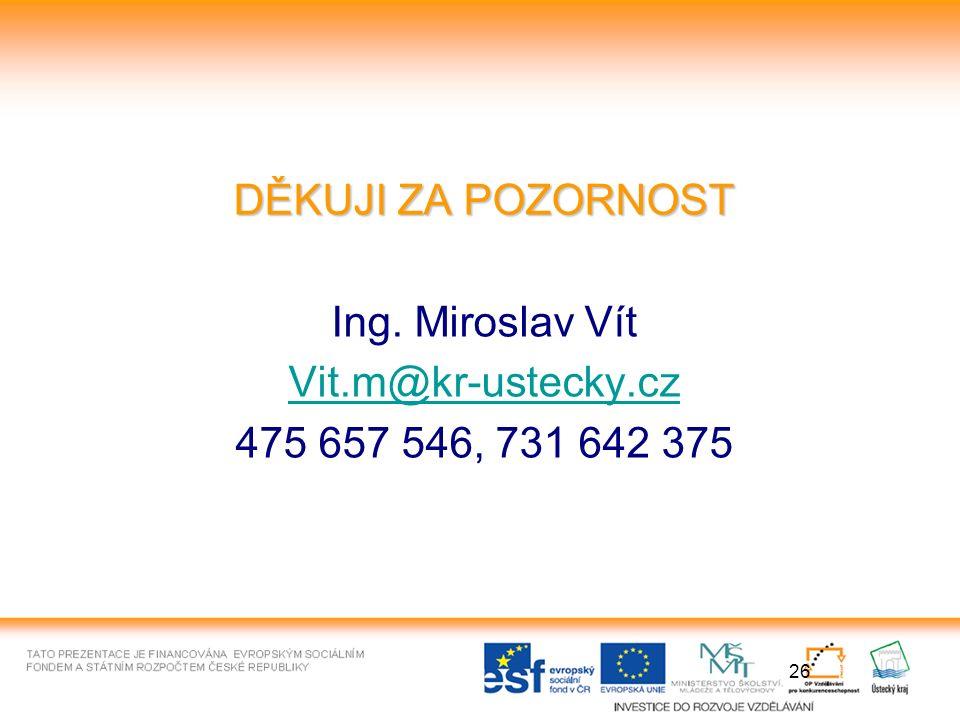 26 DĚKUJI ZA POZORNOST Ing. Miroslav Vít Vit.m@kr-ustecky.cz 475 657 546, 731 642 375