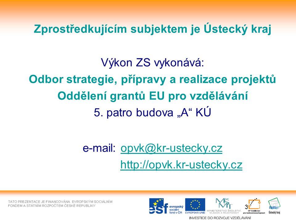 3 Zprostředkujícím subjektem je Ústecký kraj Výkon ZS vykonává: Odbor strategie, přípravy a realizace projektů Oddělení grantů EU pro vzdělávání 5.