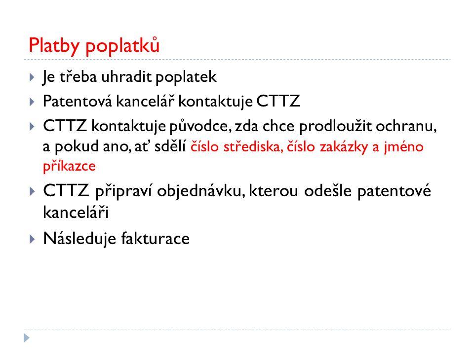Platby poplatků  Je třeba uhradit poplatek  Patentová kancelář kontaktuje CTTZ  CTTZ kontaktuje původce, zda chce prodloužit ochranu, a pokud ano, ať sdělí číslo střediska, číslo zakázky a jméno příkazce  CTTZ připraví objednávku, kterou odešle patentové kanceláři  Následuje fakturace