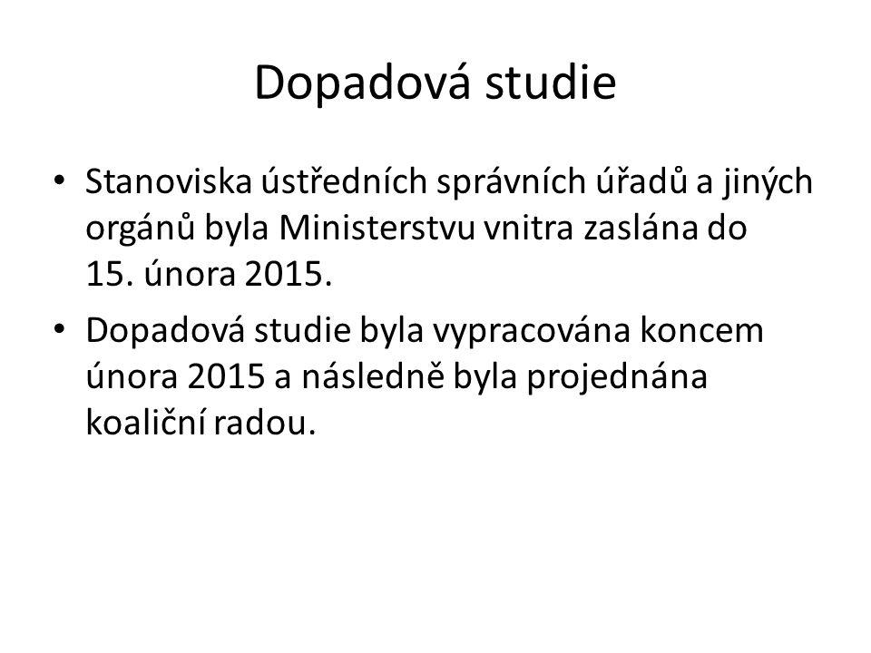 Dopadová studie Stanoviska ústředních správních úřadů a jiných orgánů byla Ministerstvu vnitra zaslána do 15.