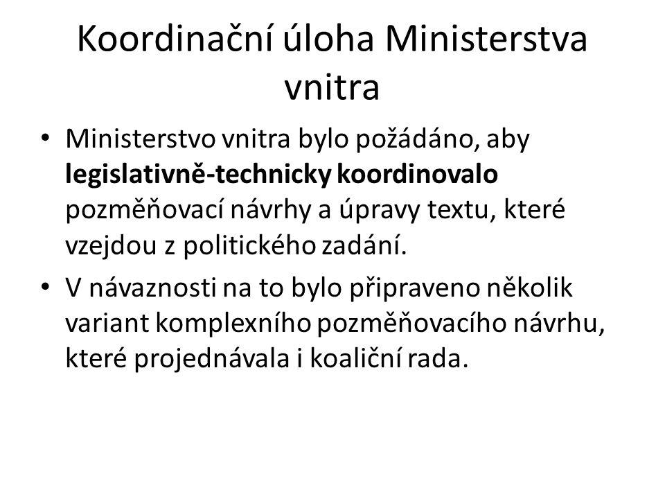Koordinační úloha Ministerstva vnitra Ministerstvo vnitra bylo požádáno, aby legislativně-technicky koordinovalo pozměňovací návrhy a úpravy textu, které vzejdou z politického zadání.