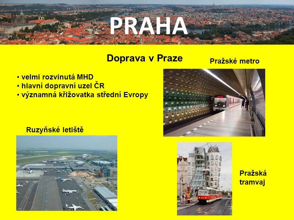 PRAHA Doprava v Praze velmi rozvinutá MHD hlavní dopravní uzel ČR významná křižovatka střední Evropy Ruzyňské letiště Pražské metro Pražská tramvaj