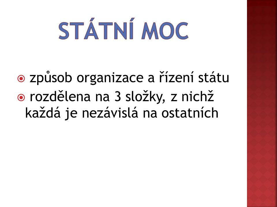  způsob organizace a řízení státu  rozdělena na 3 složky, z nichž každá je nezávislá na ostatních