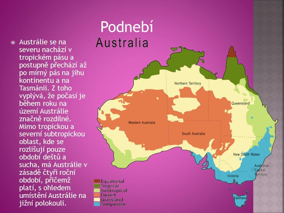  Austrálie se na severu nachází v tropickém pásu a postupně přechází až po mírný pás na jihu kontinentu a na Tasmánii.