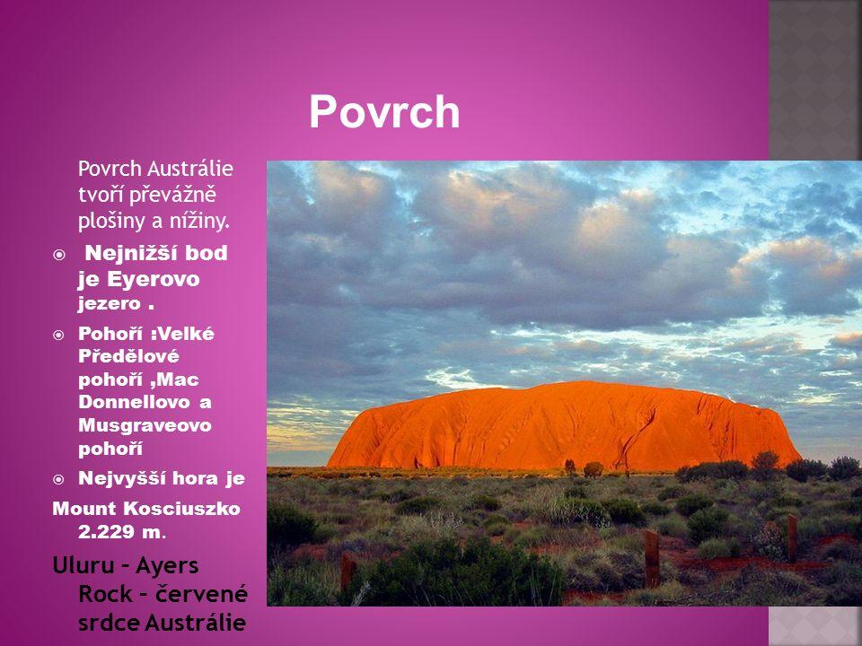 Povrch Austrálie tvoří převážně plošiny a nížiny.  Nejnižší bod je Eyerovo jezero.