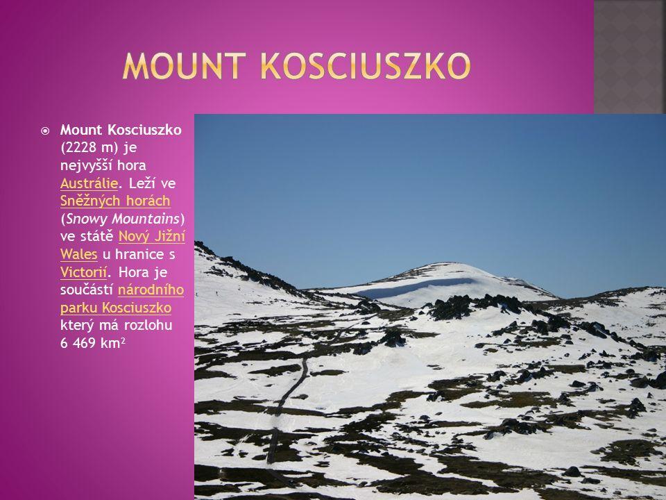  Mount Kosciuszko (2228 m) je nejvyšší hora Austrálie.